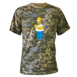 Камуфляжная футболка Гомер что-то затеял - FatLine