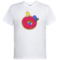 Мужская футболка  с V-образным вырезом Гомер и Пончик - FatLine