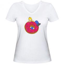 Женская футболка с V-образным вырезом Гомер и Пончик - FatLine