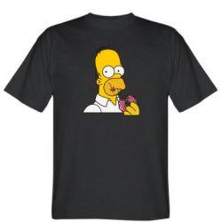 Мужская футболка Гомер любит пончики - FatLine