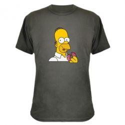 Камуфляжная футболка Гомер любит пончики - FatLine