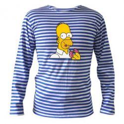 Тельняшка с длинным рукавом Гомер любит пончики - FatLine