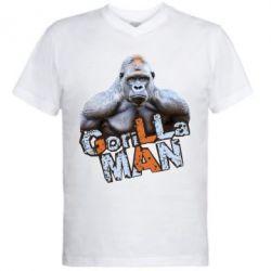 Мужская футболка  с V-образным вырезом Горилла MAN