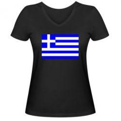 Женская футболка с V-образным вырезом Греция - FatLine