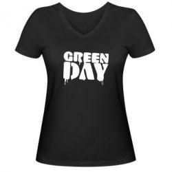 Женская футболка с V-образным вырезом Green Day - FatLine