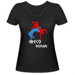 Женская футболка с V-образным вырезом Греко-римская борьба - FatLine