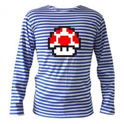 Тельняшка с длинным рукавом Гриб Марио в пикселях - FatLine