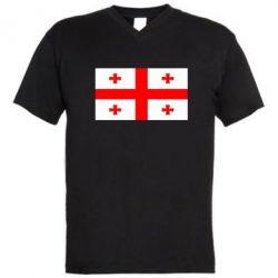 Мужская футболка  с V-образным вырезом Грузия - FatLine