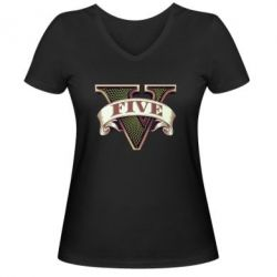 Женская футболка с V-образным вырезом GTA 5 3D Logo - FatLine