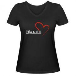 Женская футболка с V-образным вырезом H - FatLine