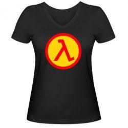 Женская футболка с V-образным вырезом Half Life Logo - FatLine