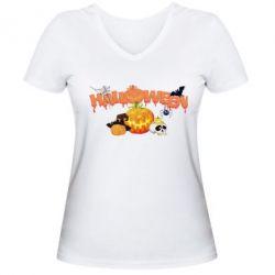 Женская футболка с V-образным вырезом Halloween Logo - FatLine