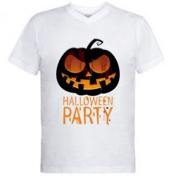 Мужская футболка  с V-образным вырезом Halloween Party - FatLine