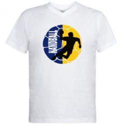 Мужская футболка  с V-образным вырезом Handball Logo - FatLine