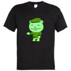 Мужская футболка  с V-образным вырезом happy tree friends flippy