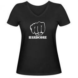 Женская футболка с V-образным вырезом hardcore - FatLine