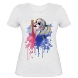 Женская футболка Харли Квин акварель