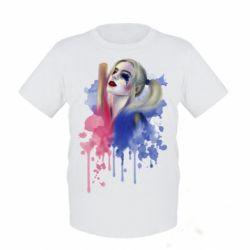 Детская футболка Харли Квин акварель