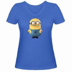 Женская футболка с V-образным вырезом Хитрый миньон - FatLine