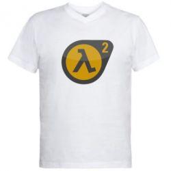 Мужская футболка  с V-образным вырезом HL 2 logo - FatLine