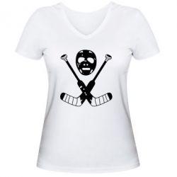 Женская футболка с V-образным вырезом Хоккейная маска - FatLine