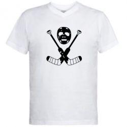 Мужская футболка  с V-образным вырезом Хоккейная маска - FatLine