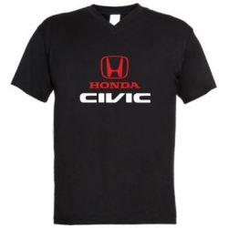 Мужская футболка  с V-образным вырезом Honda Civic - FatLine