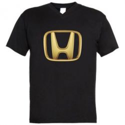 Мужская футболка  с V-образным вырезом Honda Gold Logo - FatLine