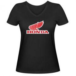 Женская футболка с V-образным вырезом Honda Vintage Logo - FatLine