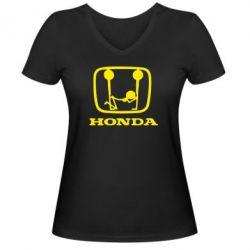 Женская футболка с V-образным вырезом Honda - FatLine