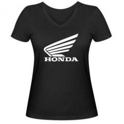 Жіноча футболка з V-подібним вирізом Honda - FatLine