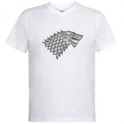 Мужская футболка  с V-образным вырезом House Stark - FatLine