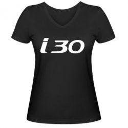 Женская футболка с V-образным вырезом HYUNDAI i30 - FatLine