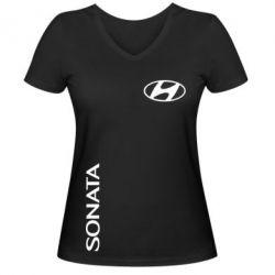 Женская футболка с V-образным вырезом Hyundai Sonata - FatLine