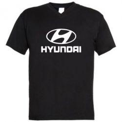 Мужская футболка  с V-образным вырезом HYUNDAI - FatLine