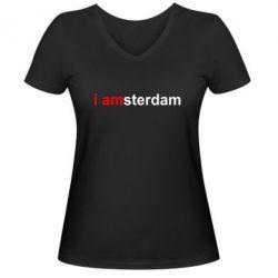 Женская футболка с V-образным вырезом I amsterdam - FatLine