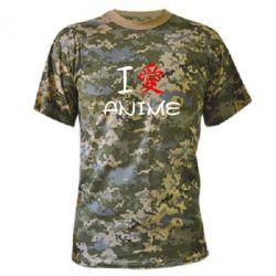 Камуфляжная футболка I love Anime