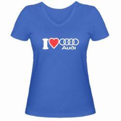 Женская футболка с V-образным вырезом I love audi - FatLine