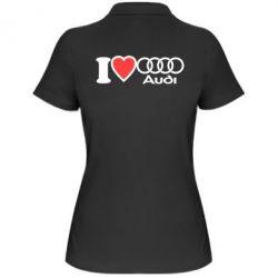 Женская футболка поло I love audi - FatLine