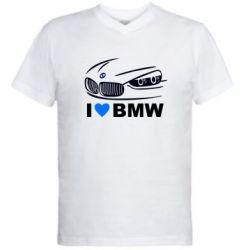 Мужская футболка  с V-образным вырезом I love BMW 2 - FatLine