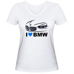 Женская футболка с V-образным вырезом I love BMW 2 - FatLine