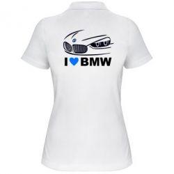 Женская футболка поло I love BMW 2 - FatLine