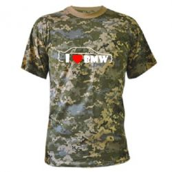 Камуфляжная футболка I love BMW - FatLine