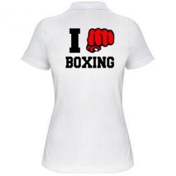 Женская футболка поло I love boxing - FatLine