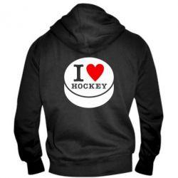 Мужская толстовка на молнии I love hockey - FatLine