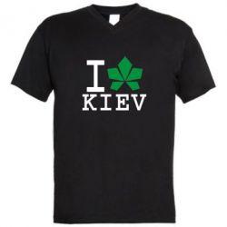 Мужская футболка  с V-образным вырезом I love Kiev - с листиком - FatLine