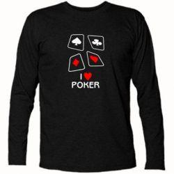 Футболка с длинным рукавом I love poker - FatLine