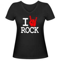 Женская футболка с V-образным вырезом I love rock - FatLine