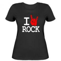 Женская футболка I love rock - FatLine