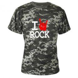 Камуфляжная футболка I love rock - FatLine